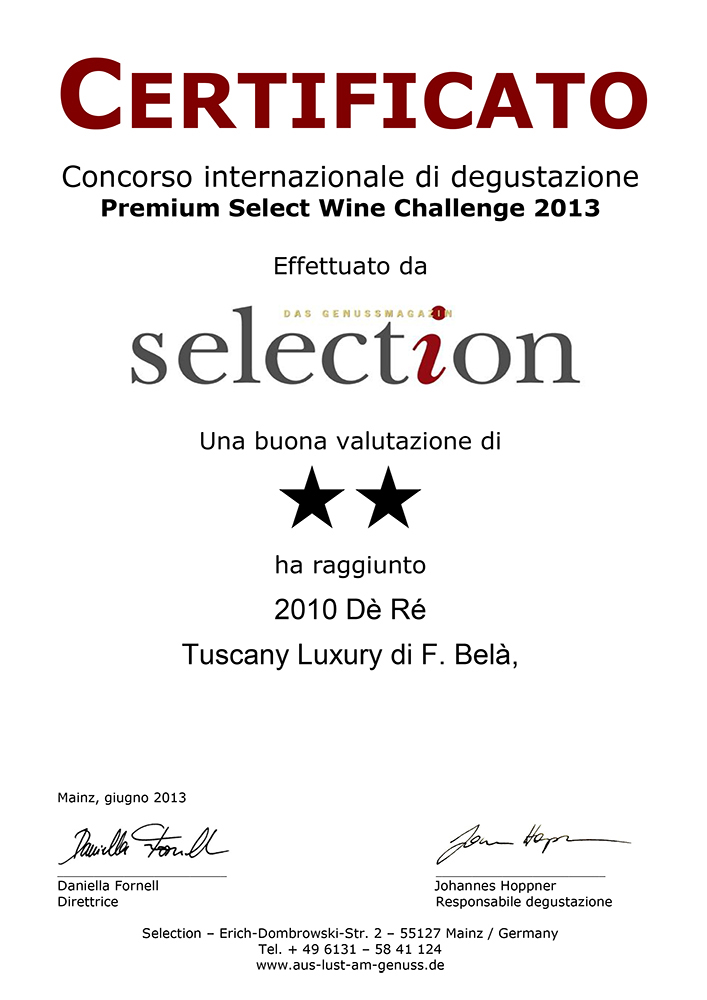 certificato selection tuscany luxury